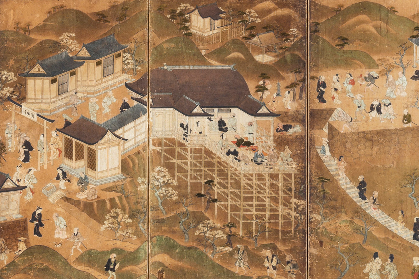 Folding Screen with the Painting of Amusements in Kiyomizu (17th century)