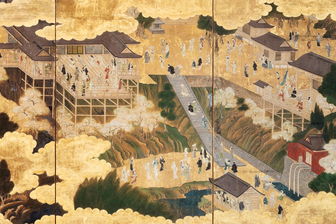 Folding Screen with the Painting of Kiyomizu-dera Temple Grounds (17th century)